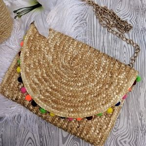 Natural Straw Clutch Style Cross Body Purse